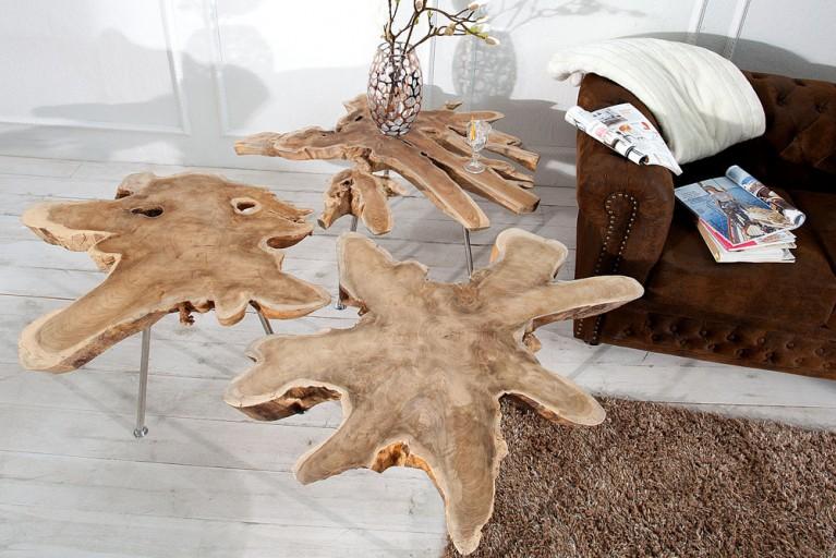 Exklusiver Couchtisch WILD  90 cm Baumscheibe Teakholz