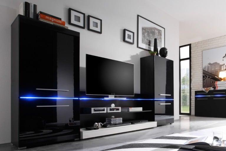 Design Wohnwand FLASH 260cm hochglanz schwarz inkl. LED Beleuchtung blau