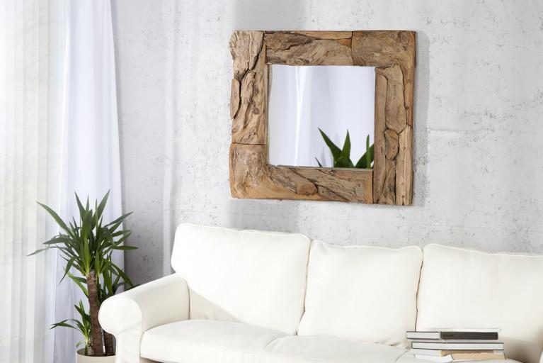 Design Teakholz Wandspiegel SANDS 50cm Treibholz rechteckig in Handarbeit gefertigt