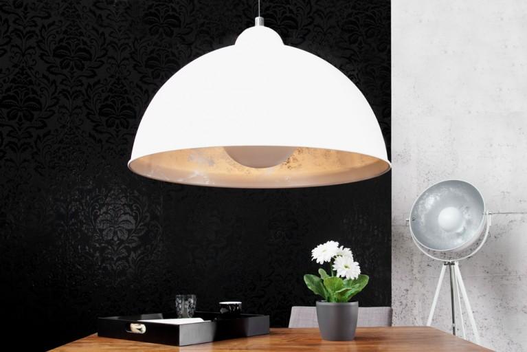 Moderne Hängelampe STUDIO weiss silber Lampe Blattsilber Optik
