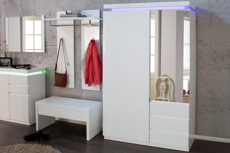 Design Garderobenschrank VENUE Hochglanz weiss 200cm inkl. LED Farbwechsel