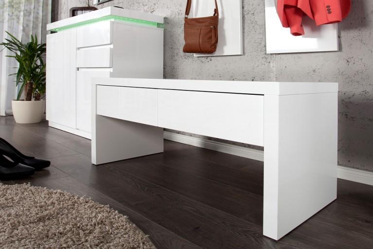 Design Bank VENUE Hochglanz weiss 90cm