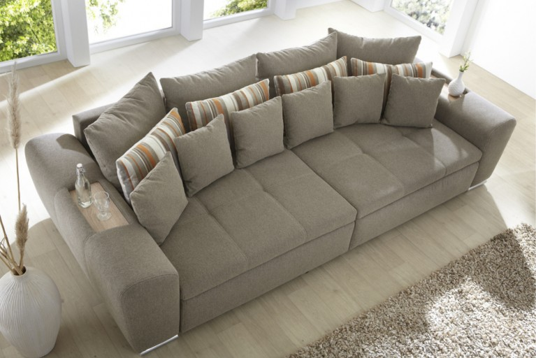 Design Sofa SEVILLA XXL Sofa in hellbrauner Steppung