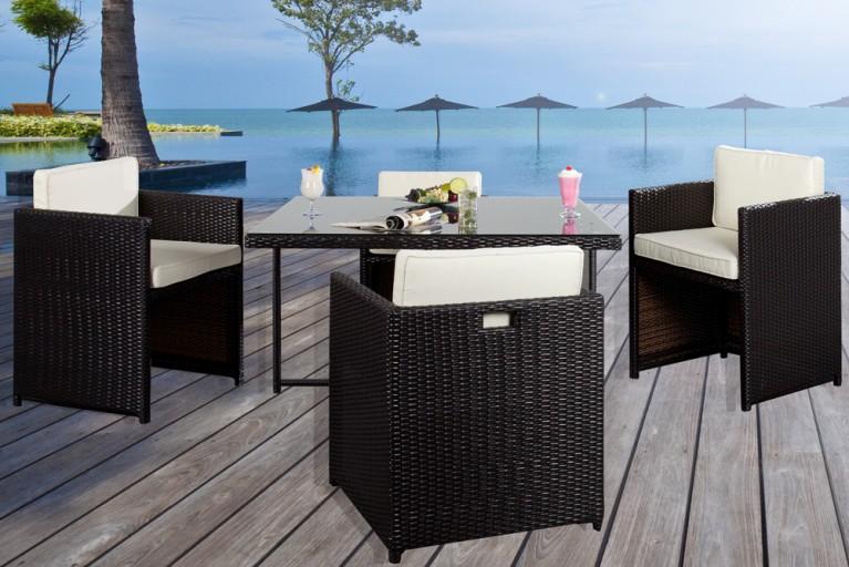 5-tlg. Garten-Set Sitzgruppe LONG ISLAND 120x120 cm coffee-anthrazit weiß