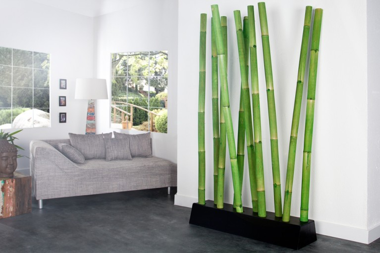 Design Raumteiler BAMBOO grün Trennwand Dekoration aus Bambus