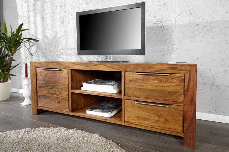 Massives Design TV-Board PURE Sheesham stone finish 135cm Schubladen Tisch einzigartige Maserung