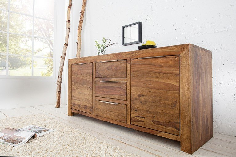 Massives Design Sideboard PURE Sheesham Holz stone finish 140cm einmalige Maserung