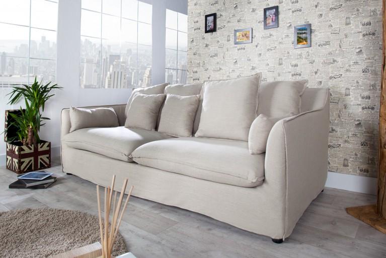 Großes Hussensofa HEAVEN Leinenstoff in beige 3er Sofa 215cm