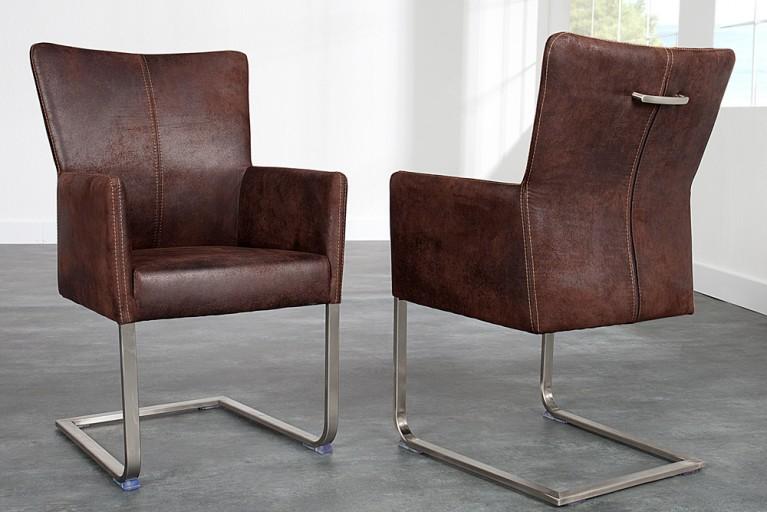 Freischwinger Stuhl CONSUL mit Armlehnen dunkel braun mit Komfortgriff und gebürstetem Edelstahlrahmen