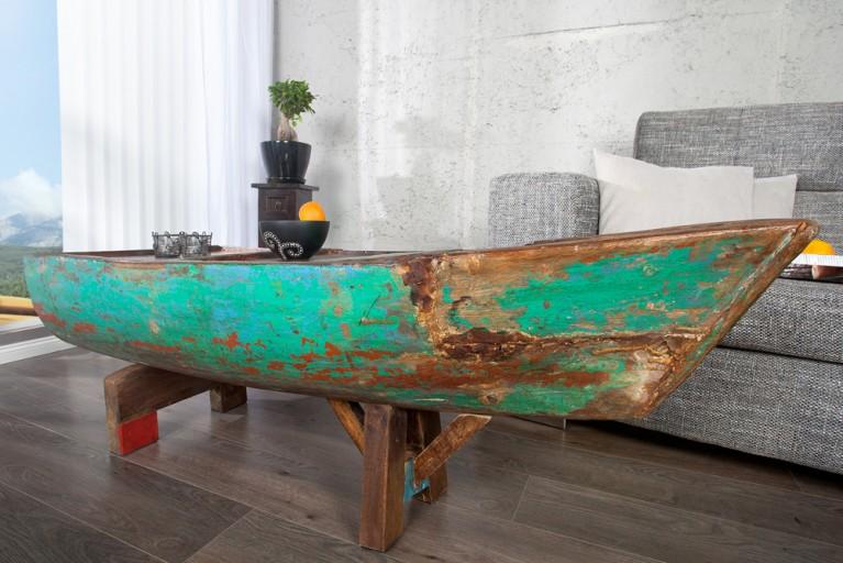 Einzigartiger Couchtisch BALI bunt aus recycelten Fischerbooten Holz 150cm
