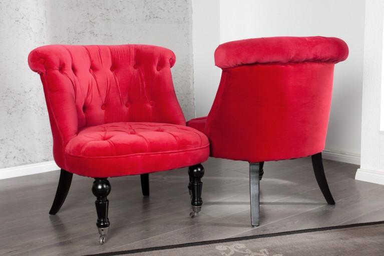 Stylischer Design Sessel JOSEPHINE Rot Stuhl Barock Barockmöbel auf Rollen