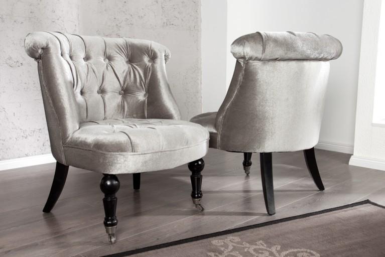 Stylischer Design Sessel JOSEPHINE Silbergrau