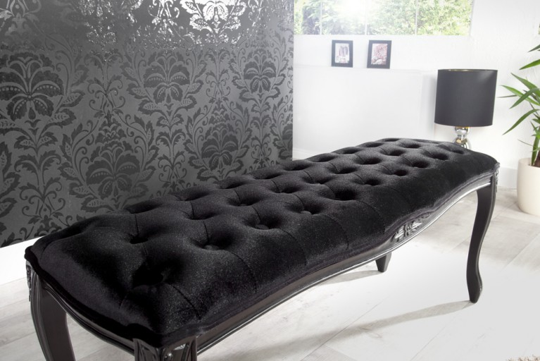 Edle Design Bank BOUTIQUE 115cm Samt Schwarz