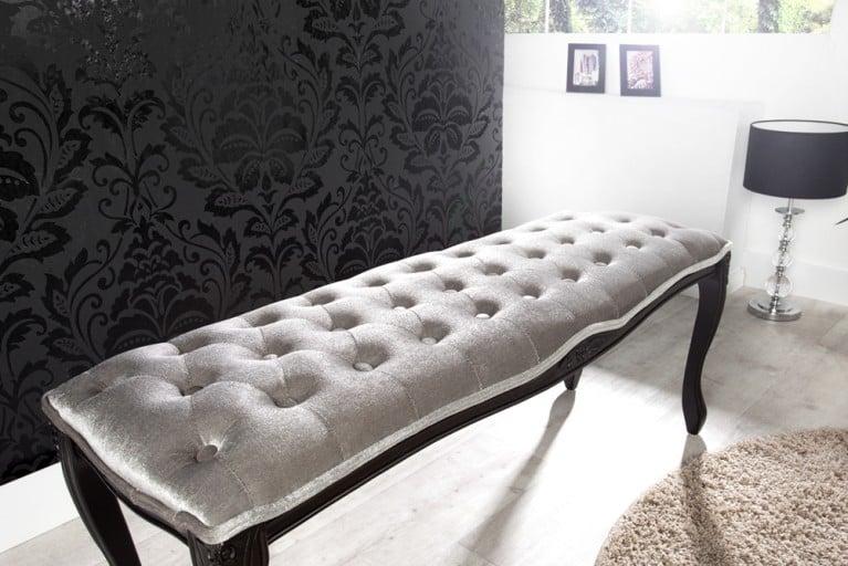 Edle Design Bank BOUTIQUE 115cm Samt Silbergrau