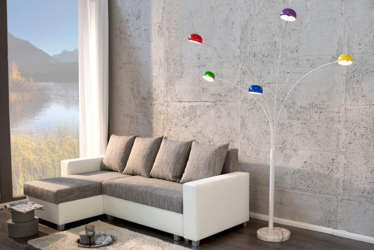 Design Bogenlampe FIVE LIGHTS bunt Stehlampe mehrfarbig Bogenleuchte