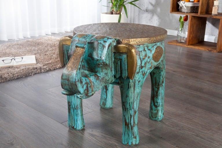 Design Sitzhocker INDRA Hocker Form eines Elefanten Massivholz türkis Messing