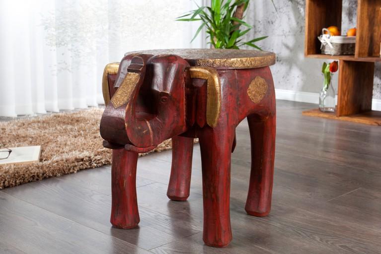 Design Sitzhocker INDRA  in Form eines Elefanten Hocker Massivholz in rot und Messing