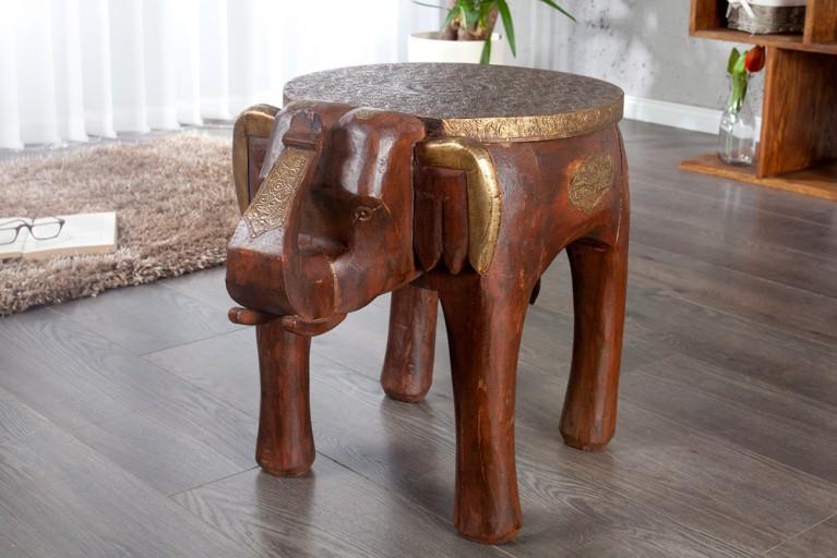 Design Sitzhocker INDRA in Form eines Elefanten Hocker Massivholz in braun und Messing
