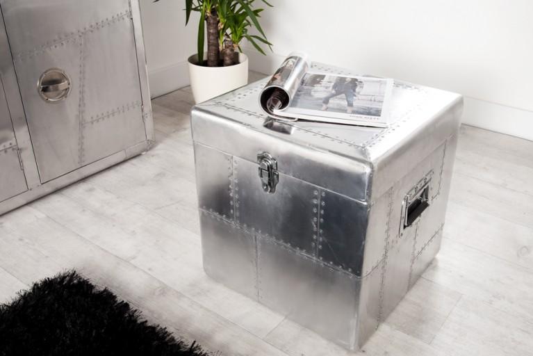 Design Truhe ALLOY Silber Alu 45cm Kiste Vintage Retro matt