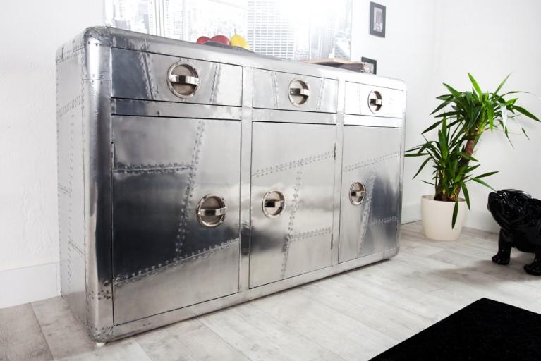 Design Sideboard ALLOY 150cm silber Alu Vintage Retro matt