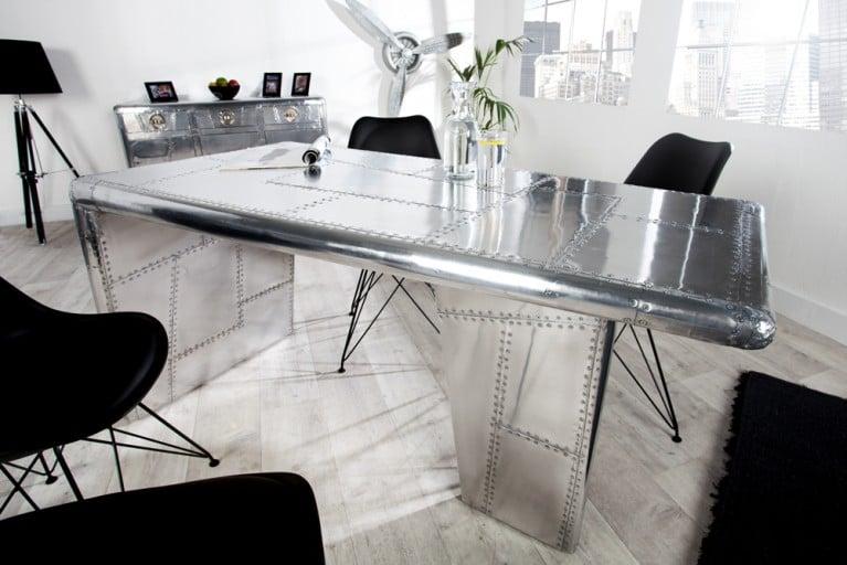 Design Esstisch ALLOY Silber Alu 150cm Vintage Retro matt Bürotisch