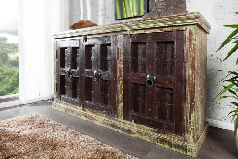 Design Sideboard MARRAKESCH 170cm dark coffee Kommode Teakholz aus original recycelten Haustüren