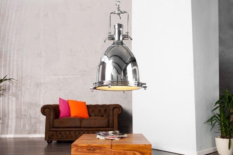 Design Hängelampe INDUSTRIAL chrom 35 cm Industrielampe Designklassiker