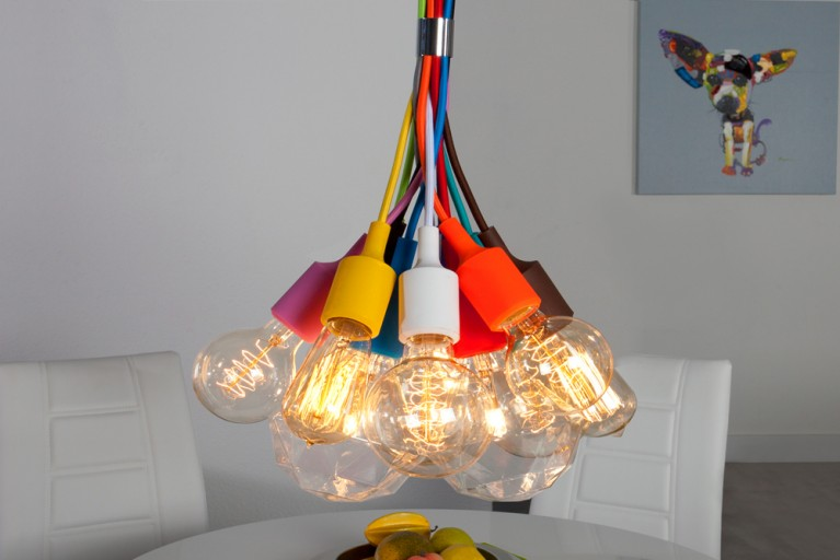 Stylishe Design Hängelampe COLORFUL BULBS bunt 12 Lichter