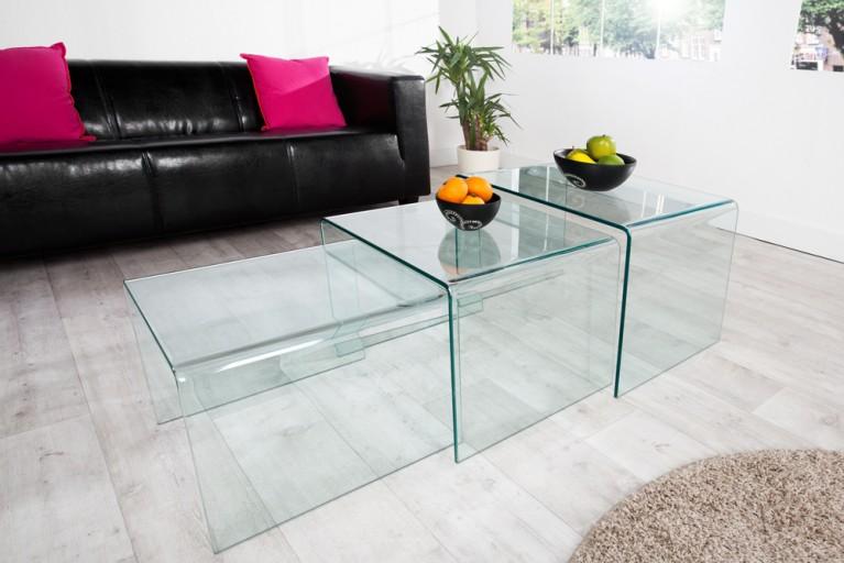 3er Set Glas Couchtisch GHOST 60cm Beistelltische transparent