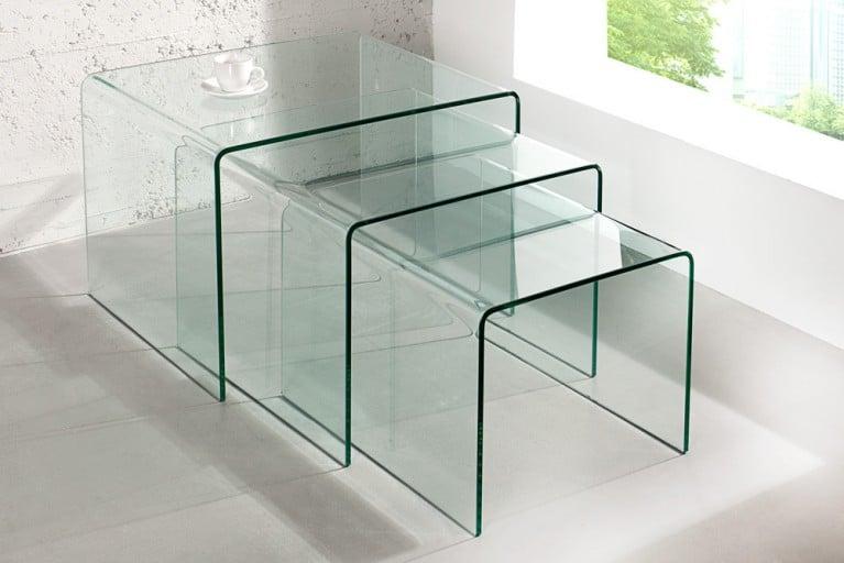 Design 3er Set Glas Couchtisch GHOST Beistelltische transparent