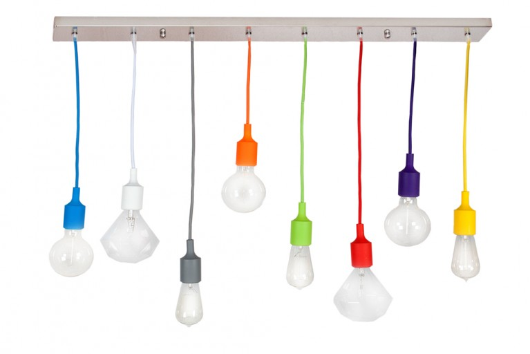 Design Hängelampe COLORFUL BULBS 100cm mit 8 bunten Lichter