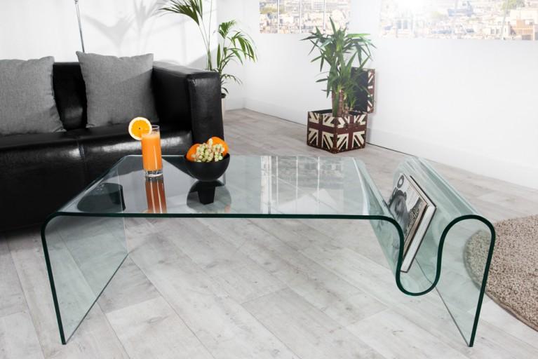 Extravaganter Glas Couchtisch GHOST 125cm Beistelltisch mit Ablagefach für Magazine transparent