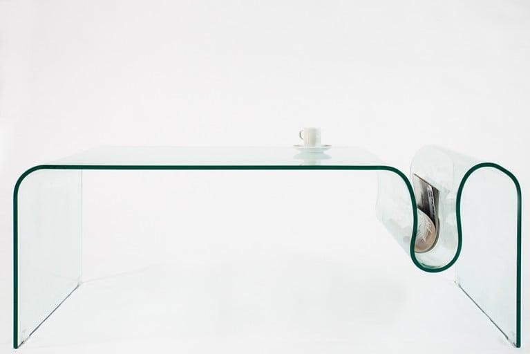 Extravaganter Glas Couchtisch GHOST 115cm mit Ablagefach für Magazine transparent