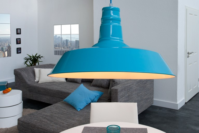 Stylische Industrieleuchte LUCA hell-blau Hängelampe 45cm Industrielampe