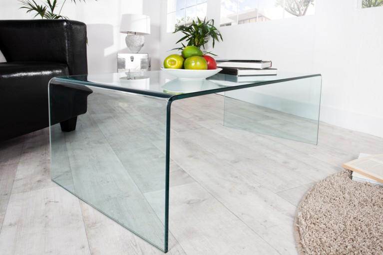 Extravaganter Glas Couchtisch GHOST 110cm transparent Beistelltisch