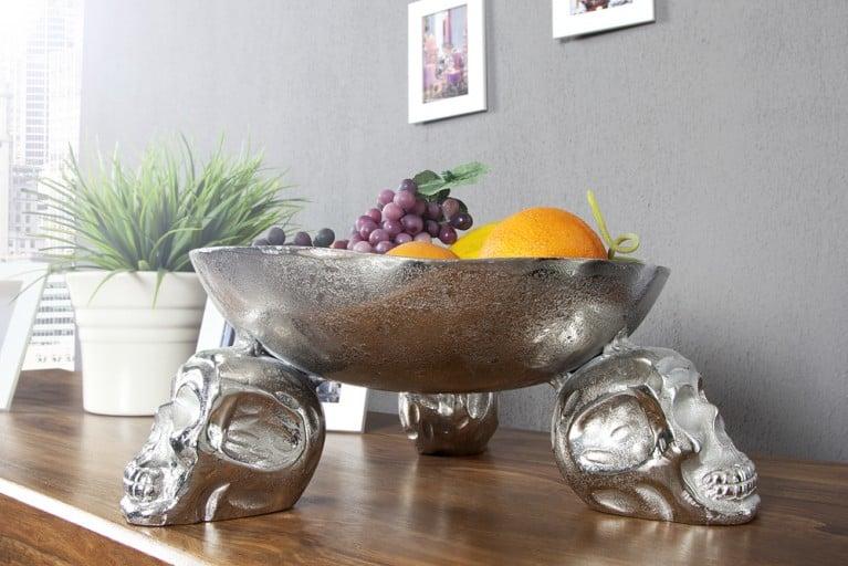 Design Obstschale SKULL 35cm silber Metall - Aluminium - Legierung