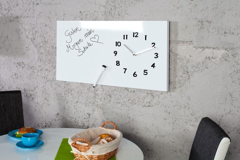 Praktische Design Wanduhr TIMEPLACE weiß 60 cm mit Marker