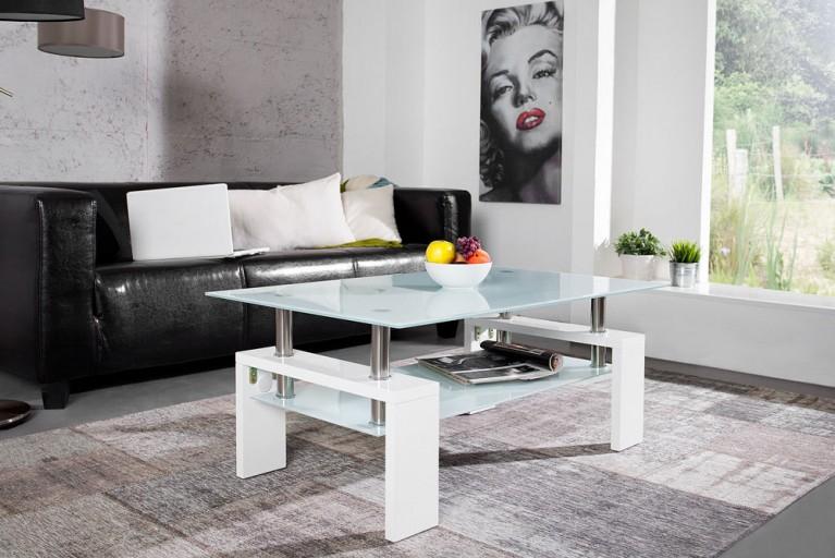 Exklusiver Design Couchtisch ARCHITEKT Hochglanz weiß Opalglas