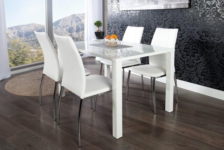 Esszimmer-Set Tisch LUCENTE 120cm Hochglanz weiß und 4 Design Stühle weiß