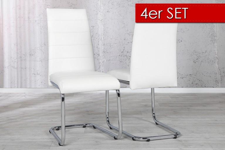 4er Set Design Freischwinger Stuhl  DERBY weiss verchromt