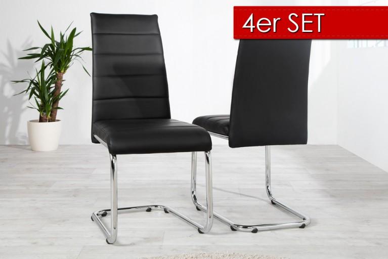 4er Set Design Freischwinger DERBY schwarz verchromt