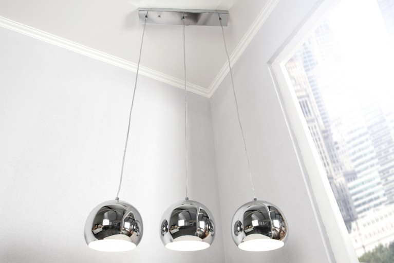 Elegante 3er Design Hängeleuchte CHROME BALL 120cm höhenverstellbar