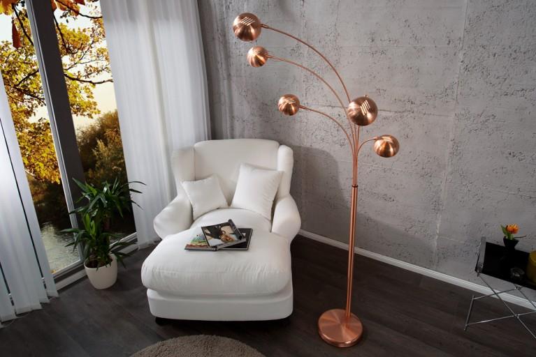 Design Bogenlampe FIVE LIGHTS Kupfer Stehlampe Bogenleuchte
