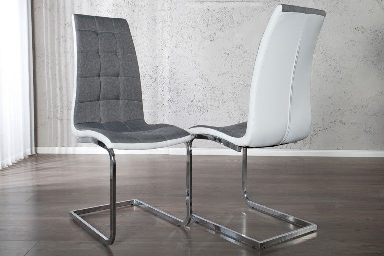 Edler Freischwinger Stuhl LONDON grau und weiss mit Steppung Strukturstoff
