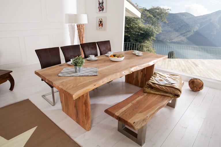 Massiver Baumtisch Esstisch MAMMUT 240cm Akazie Holzbeine