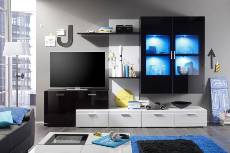 Moderne Design Wohnwand PUNCH weiß schwarz inkl. Multicolor LED Beleuchtung 300cm