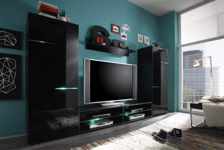 Moderne Design Wohnwand SKYLINE schwarz Hochglanz inkl. Multi LED Balken Beleuchtung mit Farbwechsel 280cm