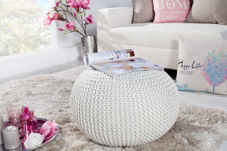 Design Strick Pouf LEEDS weiß 50cm Hocker Baumwolle in Handarbeit