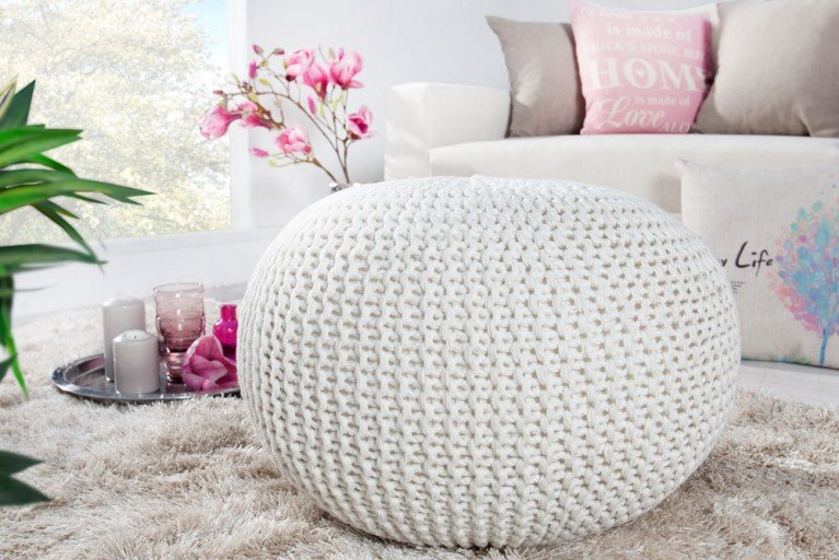 Design Strick Pouf LEEDS weiß 50cm Hocker Baumwolle in Handarbeit