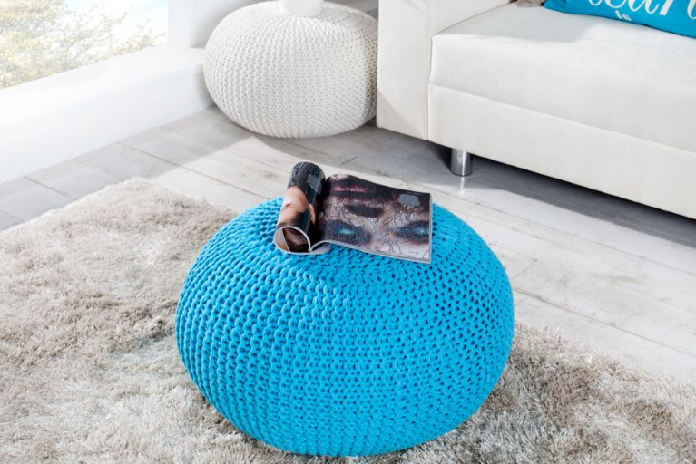 Design Strick Pouf LEEDS türkis 50cm Hocker Baumwolle in Handarbeit